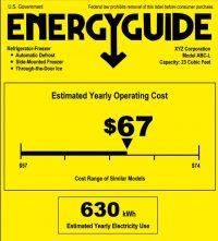 EnergyGuide label for refrigerator/freezer
